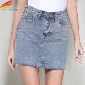 Image 4 - Streetwear קו ינס חצאית אביב קיץ 2020 נשים חדש כחול שחור כיסים גבוהה מותן מיני ג ינס חצאית באיכות גבוהה חצאיות