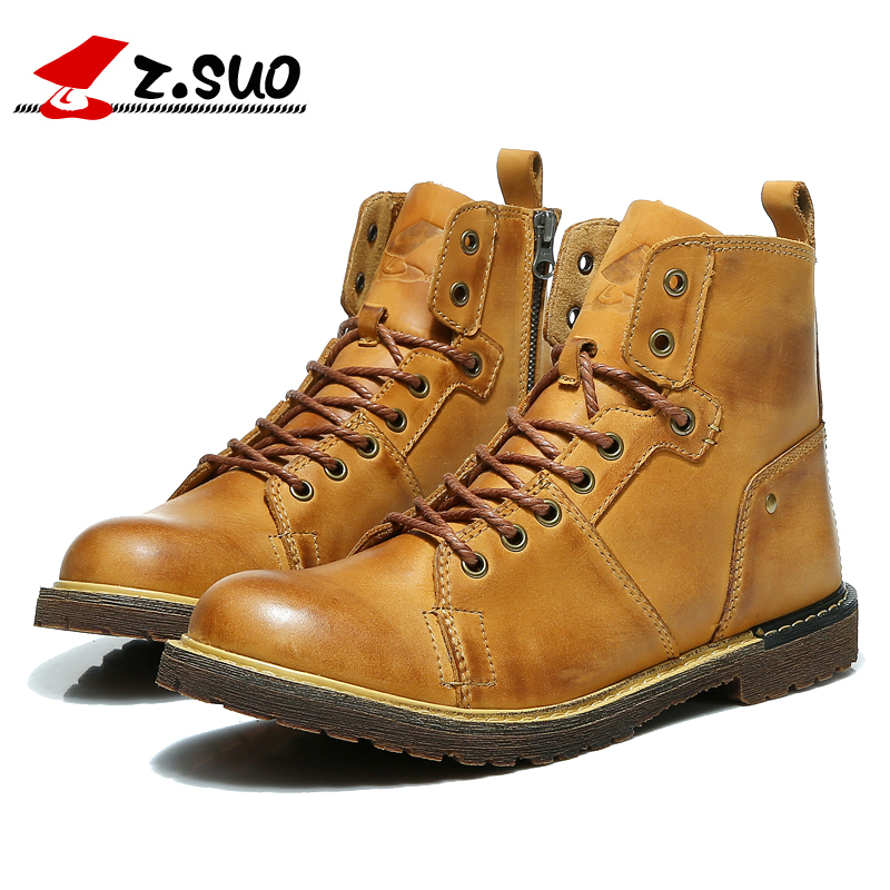 Z.Suo 2017 Fashion Luxury Mens Casual High Top Shoes Man Genuine Cow Leather Tooling Botas High Quality Men Cowboy Brown Boots