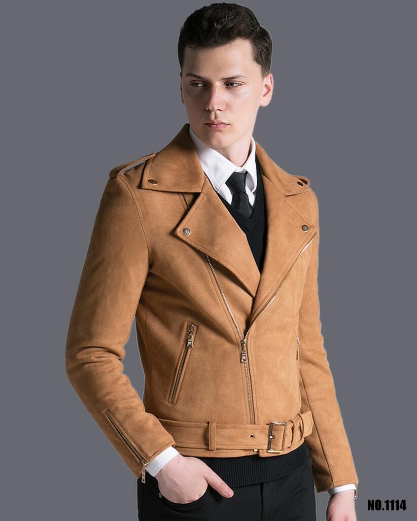 Короткая мужская куртка осень зима, новая модная армейская зеленая замшевая Повседневная куртка с отворотом, мужская верхняя одежда! S 3XL - 2