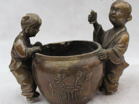 wholesale factory 6China Chinese Folk Bronze excellent Two Boy girl Play lotus flower water vat
