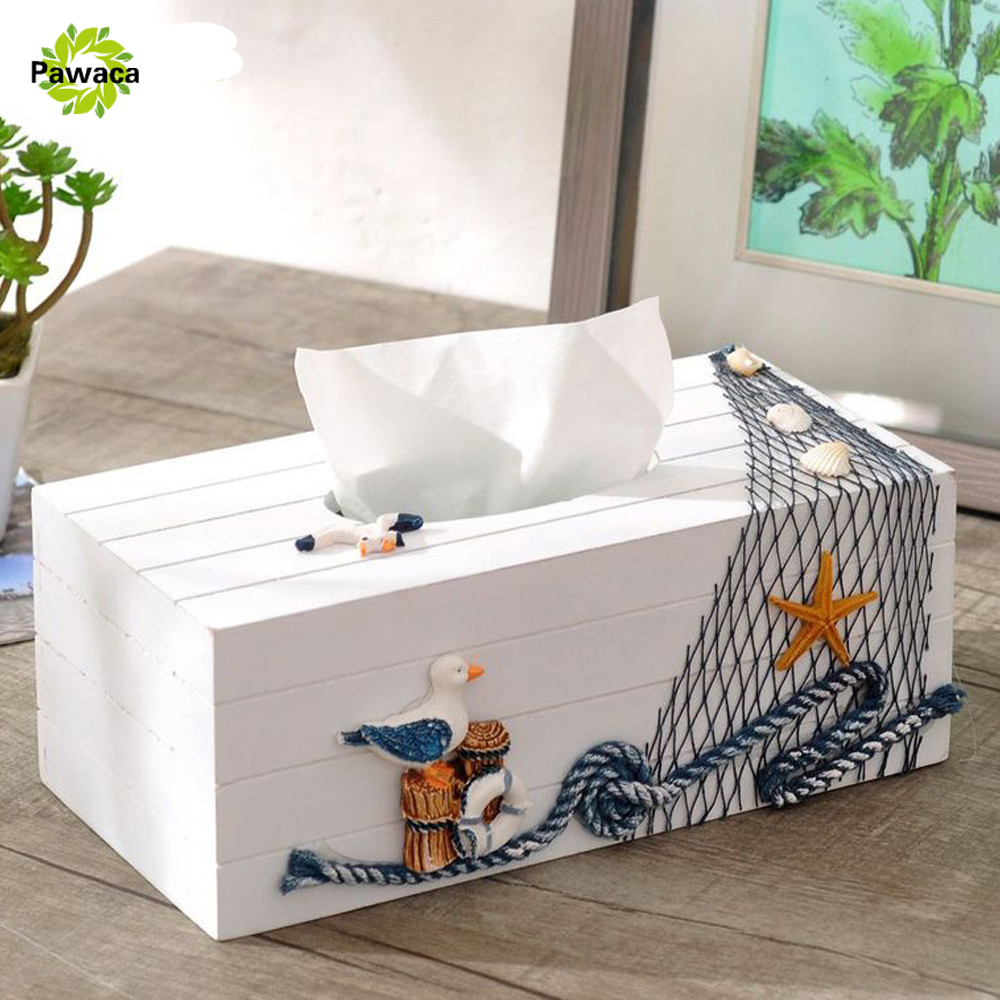 Home Table Decororation Tissue Boxes Mediterranean Sea Style Wooden Napkin Box Pine Facial Pumping Paper Bathroom Holder Cover
