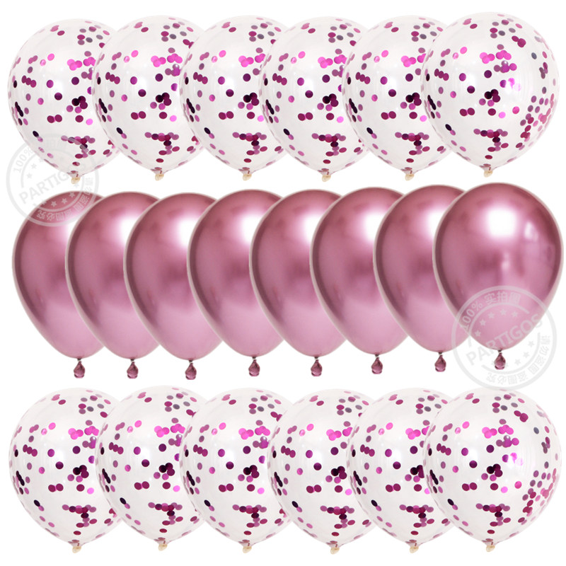 20pcs Rose Gold Confetti Set Balloons For Birthday Party And Wedding Decoration 16