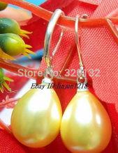 Brincos Ohrringe Phone 2pair wholesale Earrings Jewelry  Charming 12x16mm Yeloow Sea Shell Pearl Drop Earring 18k Gold Plated недорого
