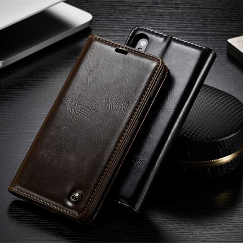 CaseMe Luxury Leather Case For iPhone X 7 6 6S Plus Case Magnetic Card Slot Wallet Cover Flip Phone Case For iPhone 5 5S SE Capa iPhone XS