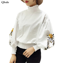 Qbale crop tops women 2017 spring summer t shirts cotton ladies cute baby doll lantern sleeve embroidery t-shirts femme