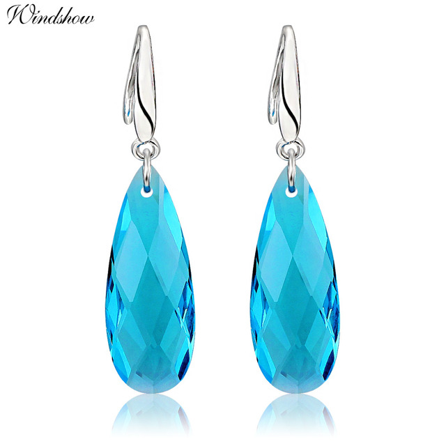 925 Sterling Silver Hook Sky Light Blue Crystal Long Teardrop Dangle