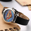 Cartoon Beautiful superman style dial children students Boy's girl's leather quartz wrist watch