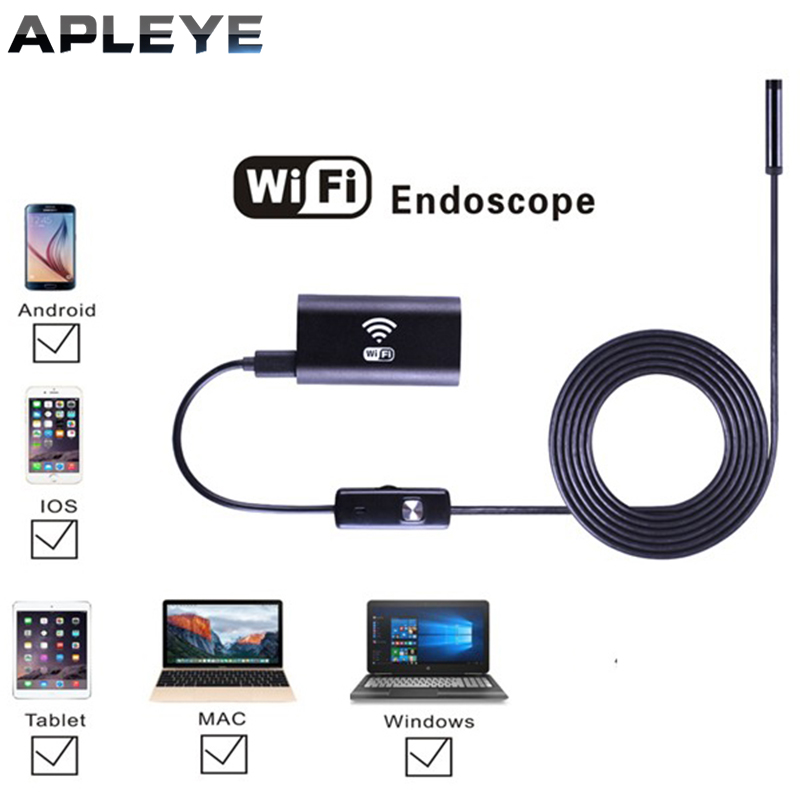 APLEYE 3.5M Android Wifi Endoscope with 8mm Lens 6 LED Waterproof Endoscope Inspection Borescope Camera for ios industrial endoscope wifi with android and ios 720p 6 led 8mm waterproof inspection borescope tube camera with 2m cable no usb