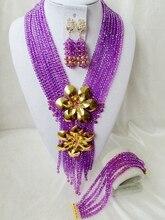 De Moda de Nigeria Boda perlas africanas joyería conjunto Púrpura collar de Cristal de Joyería Nupcial Del Envío libre OK-885