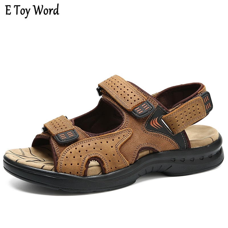 E Toy WordHot Sale New Fashion Summer Leisure Beach Men Shoe High Quality Leather Sandals The Big Yards Mens Sandals Size 38-44