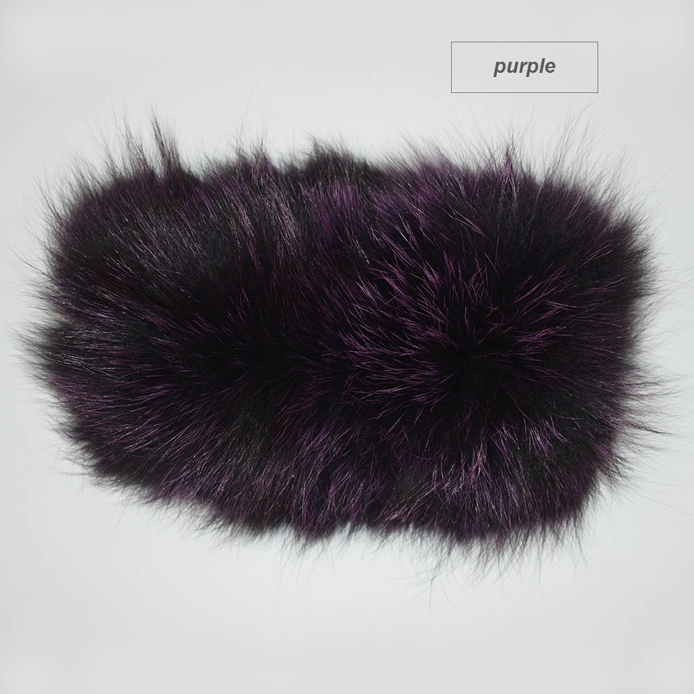 fox fur headband color purple