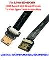 40/50/60/80/100 см мягкий гибкий кабель ультра тонкий HDMI прямой тип C Мини Женский для мужчин Мини прямой плоский кабель FPV DJI