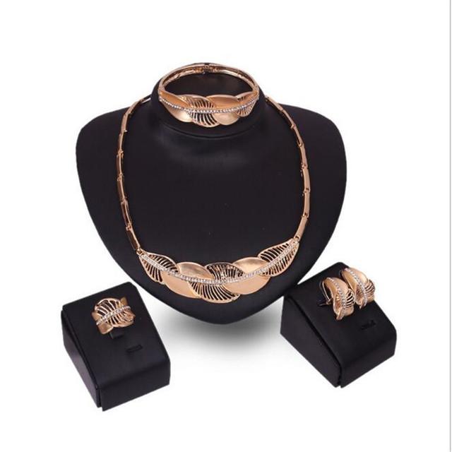 Nuevos Productos Exagerado Gran Collar de Gargantilla Cadena Declaración de La Hoja de La Vendimia Collar Pulsera Pendientes Anillo set de Joyas S0302