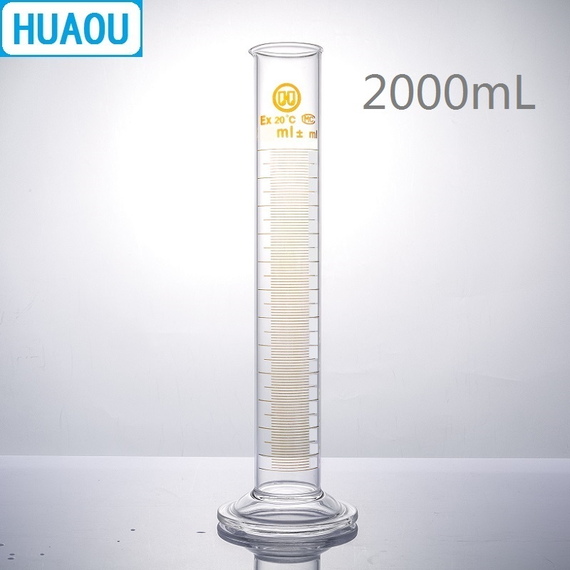 HUAOU 2000mL Measuring Cylinder 2L with Spout and Graduation with Glass Round Base Laboratory Chemistry Equipment 2000ml chemistry laboratory stainless steel measuring beaker cup with pour spout
