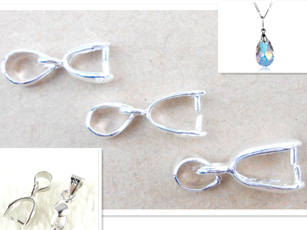 925 sterling silver 10PCS Lot Size S-M-L Handmade Jewelry Findings 925 Stamped Silver Bail Connector Bale Pinch Clasp Pendant(China)