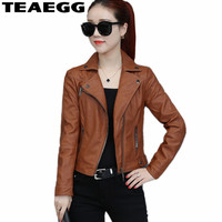 TEAEGG 2018 Brown Pu Leather Jacket For Women Coat Jaqueta Feminina De Couro Short Faux Women