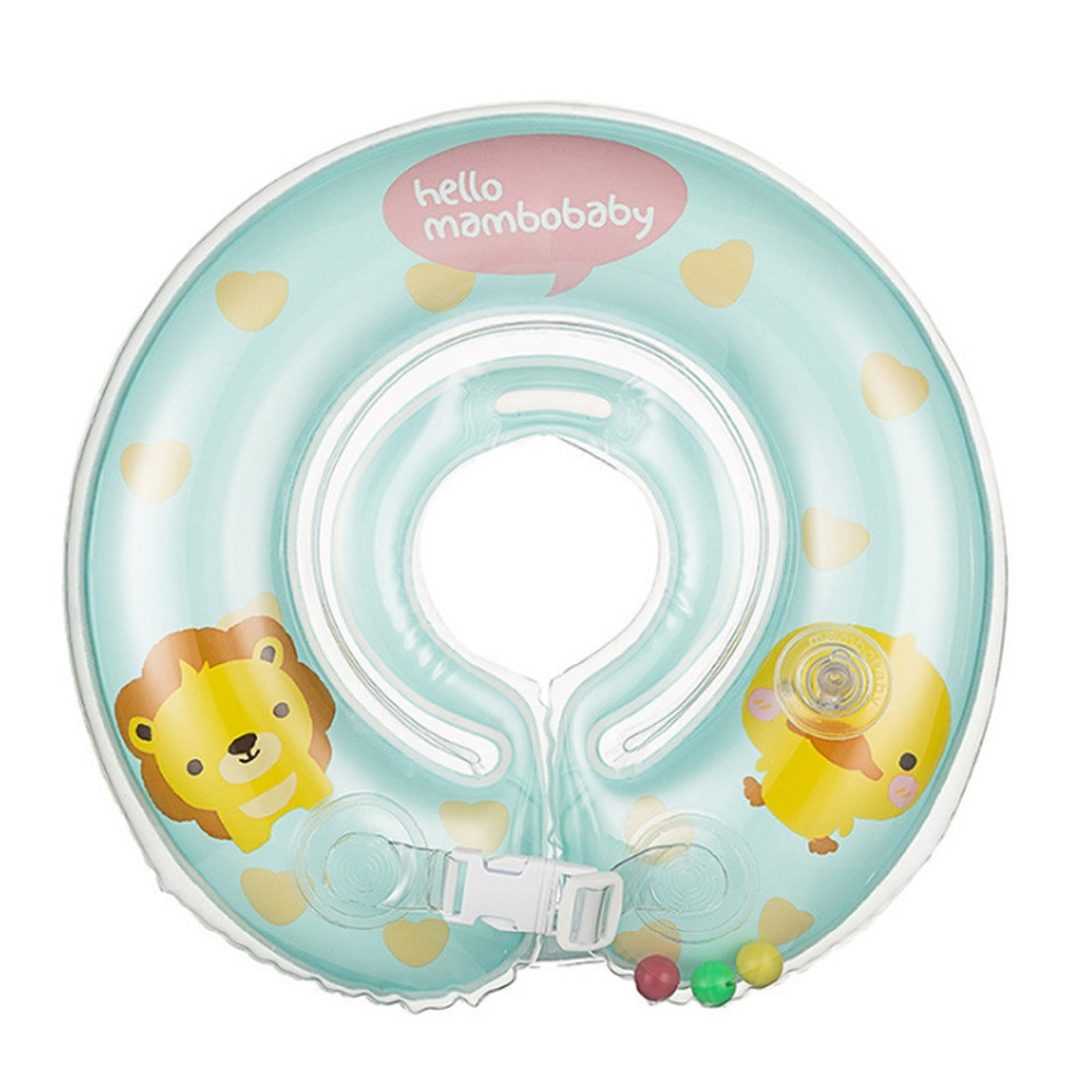 Baby Neck Float Swim Trainer Safety Thickend Newborn Swimming Neck Ring For 0-24 Months Kids Infant Adjustable Double Handrail