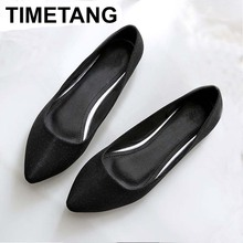 TIMETANG Women's Flats shoes 2018 New Large size 33-45 Fashion pointed Toe sequined cloth Comfortable Women casual shoes C119