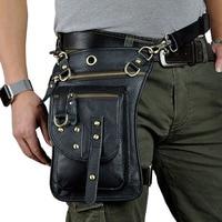 Original Leather Multifunction Men Travel Shoulder Crossbody Messenger Bag Hook Belt Waist Pack Drop Leg Bag Phone Case