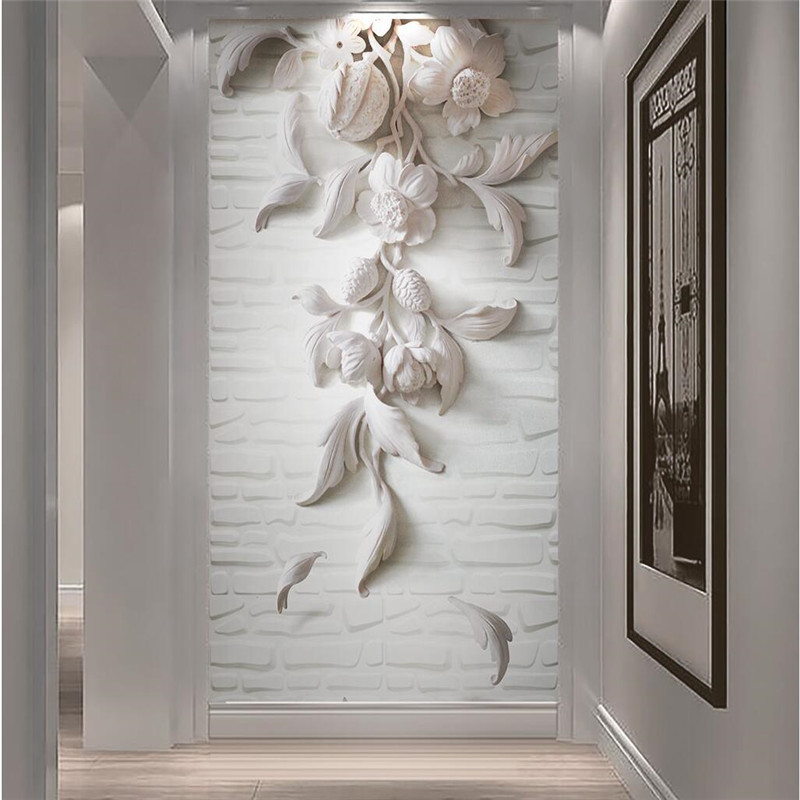 Buy wall paper 3d art mural hd white for Decorative mural painting