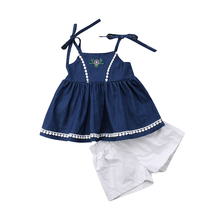 Little Girls Casual Clothes Sets Toddler Kids Girl Strap Denim Skirt Tops Shorts Outfits Set Clothing 1-6T 2019