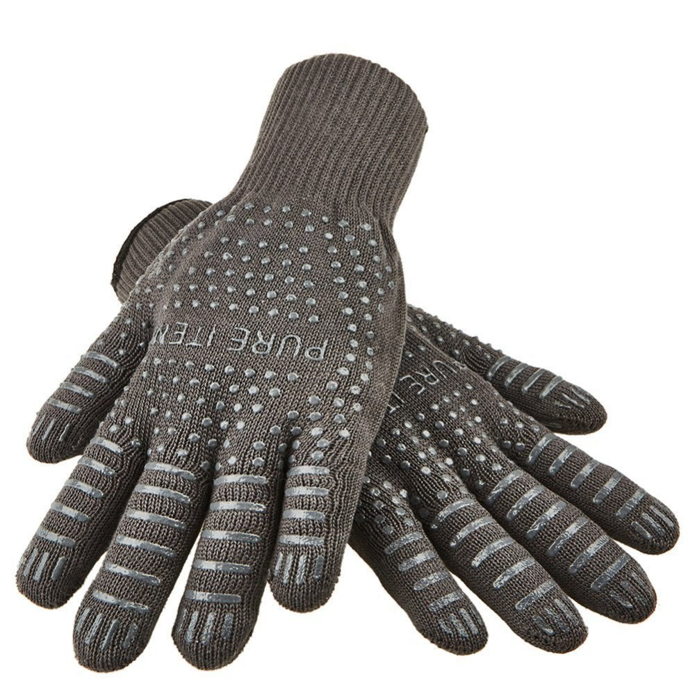 Gray color BBQ Gloves With No-Slip Silicone Grips, Oven Mitts, Fire proof Gloves, Baking, Cooking,Grilling,Kitchen Gloves