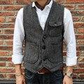 Hombres chaqueta sin mangas chaleco de los hombres de moda traje de chaleco masculino de estilo británico delgado chalecos de algodón de un solo pecho de lana vintage a160