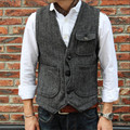 Men's Sleeveless Jacket Waistcoat Men Suit Vest Fashion Male British Style Slim Woolen Cotton Single Breasted Vintage Vests A160
