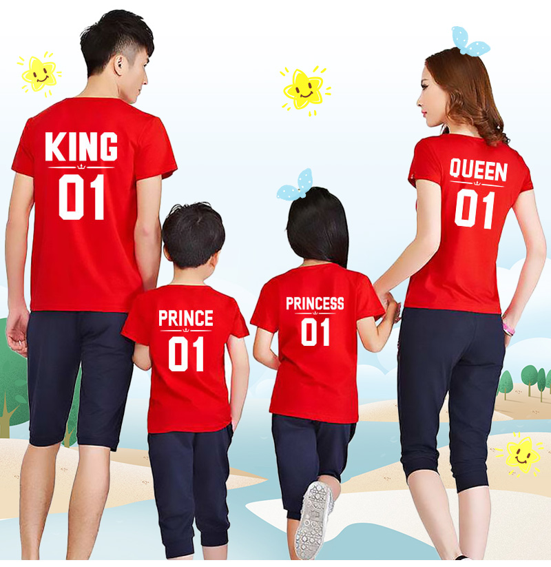 HTB1uDrCe2WG3KVjSZFgq6zTspXaz - Family Look Dad Mom Kid matching outfits mommy and me clothes mother daughter dresses Fashion T-Shits King Queen prince princess