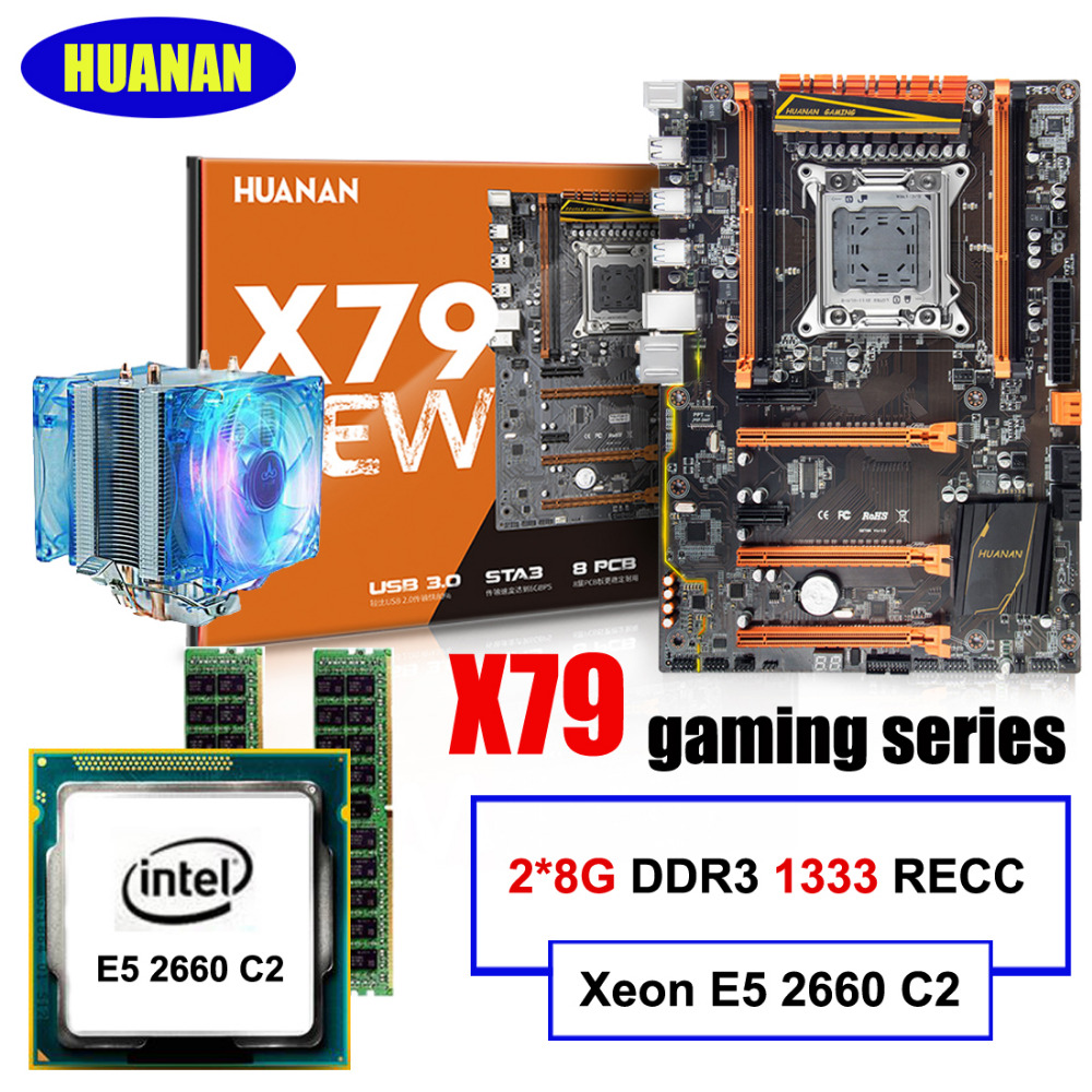 New Arrival HUANAN ZHI Deluxe X79 Motherboard CPU RAM Set X79 LGA2011 Motherboard Xeon E5 2660 C2 With Cooler RAM 16G(2*8G) RECC