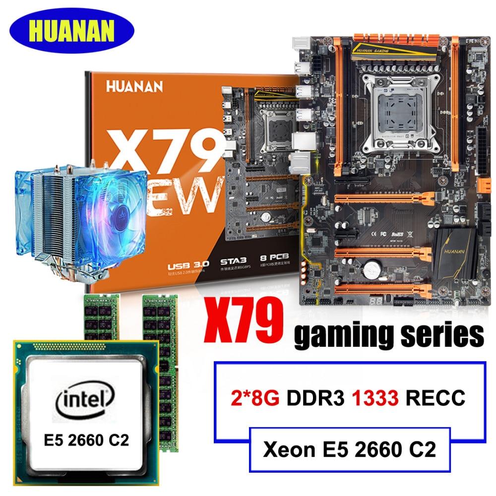 Nouveauté HUANAN ZHI deluxe X79 carte mère CPU RAM set X79 LGA2011 carte mère Xeon E5 2660 C2 avec refroidisseur RAM 16G (2*8G) RECC