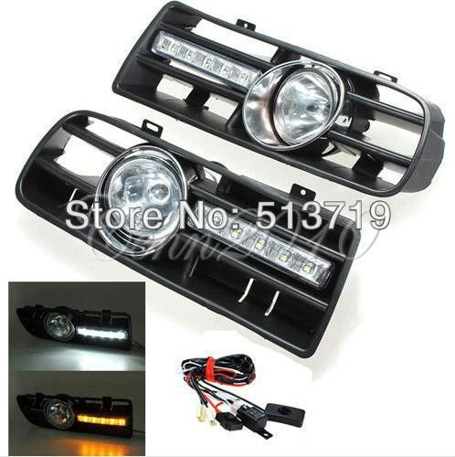 Free shipping Bumper Grille Grill DRL Running Driving LED Fog Lamp Lights For 97-06 VW GOLF MK4 1pair led fog lights angel eyes lamp car front bumper grille grill cover with wire kit for vw golf mk4 98 04