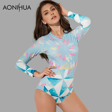 AONIHUA 2018 Vintage Retro One Piece Swimsuits Women Long sleeve Swimwear female Geometric Surfing Push up swimming suit 2065