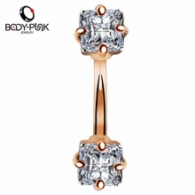 BODY PUNK Summer NEW Belly Button Ring Rose Gold Plated Two Prong CZ Navel Piercing Stainless Steel Retro Body Jewelry