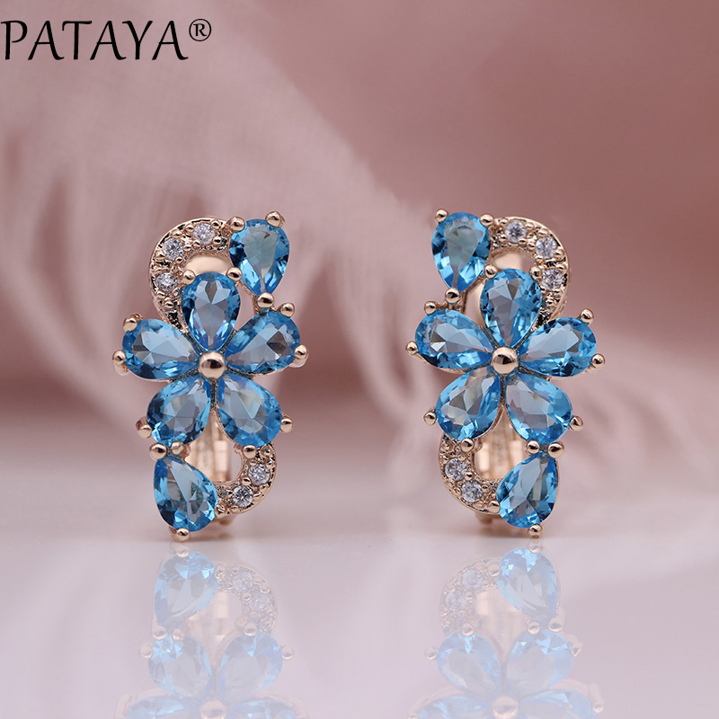 HTB1uDrbKbGYBuNjy0Foq6AiBFXah - PATAYA New Water Drop Plum Blossom Dangle Earrings Women Fashion Trendy Jewelry 585 Rose Gold Petal Natural Zircon Blue Earrings