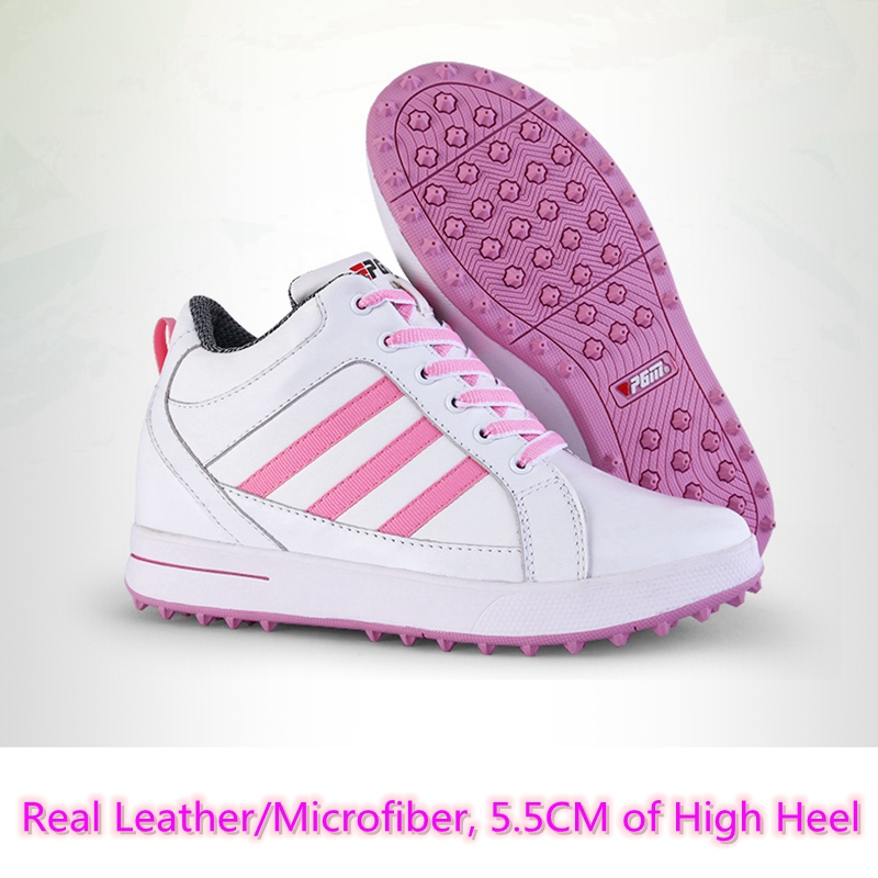 Brand PGM Adult Ladies Women Genuine Leather High Heel Golf Sports Shoes Light & Steady & Breathable &Waterproof. shoes bag free