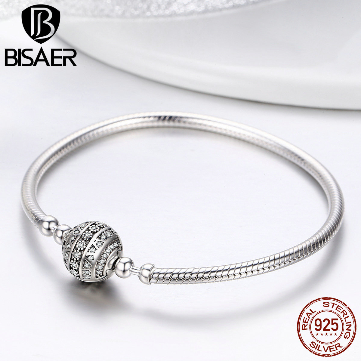 BISAER Authentic 925 Sterling Silver Clear CZ Round Clasp Femme Snake Chain Bracelets for Women Silver Jewelry Pulseira GXB062