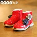 Botas de invierno de los nuevos niños muchachas de La Princesa botas zapatos de cuero de luz