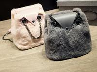 Winter Cute Cartoon Owl Chain Bag Women Plush Bucket Crossbody Bags Causal Ladies Shoulder Messenger Bag Phone Coin Purses
