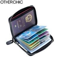 Oil Wax Cowhide Leather Card Holders Women Passport Case Cover Men Card Wallet Ladies Card Holders