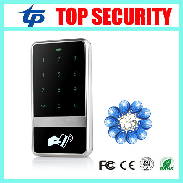 Free shipping RFID card door access control reader LED touch keypad surface waterproof 125KHZ EM card access control system good quality metal case face waterproof rfid card access controller with keypad 2000 users door access control reader