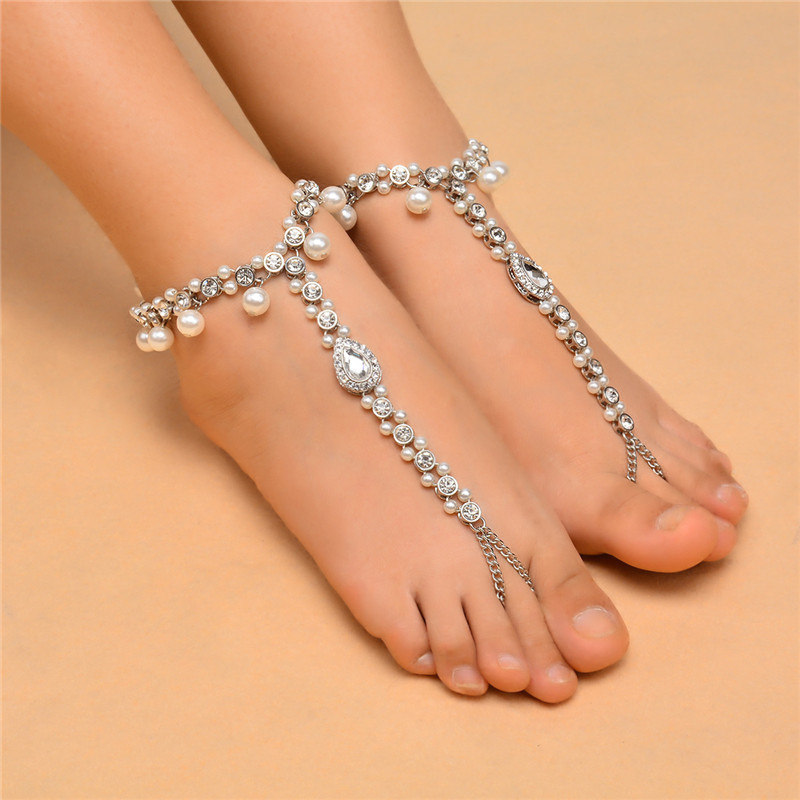 1pcs bridal barefoot sandals pearl water drop multi layer anklet wedding beach foot jewelry chain