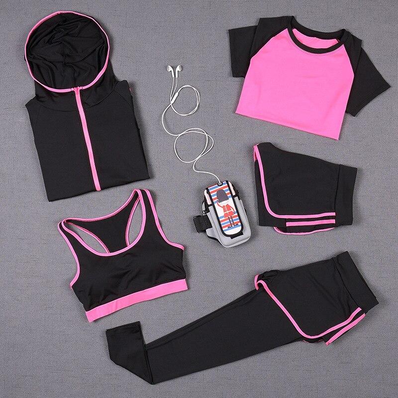 5pcs Yoga Set Women Fitness Running Exercise Sport Bra+Pants+Shirt+Coat+Shorts+Vest 6 Colors Breathable Push up Sports Suits
