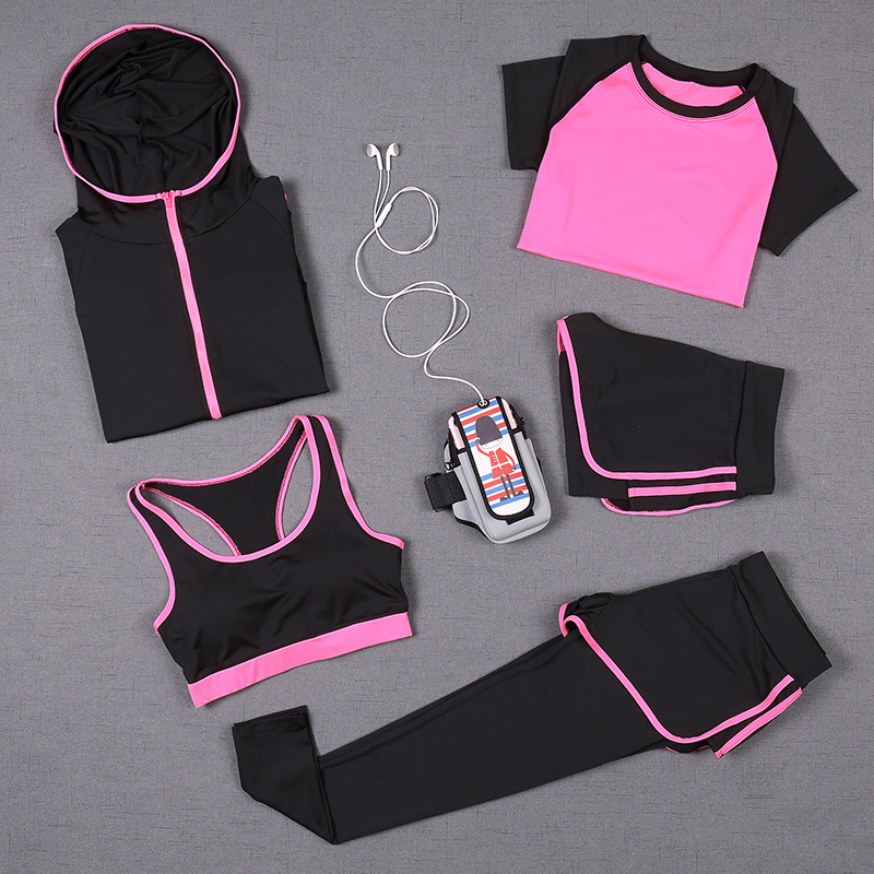 Patty Both 5 PCS Women Yoga Set for Running T-Shirt Fitness Bra Sports Wear Gym Clothing Women Workout Set Sports Suit