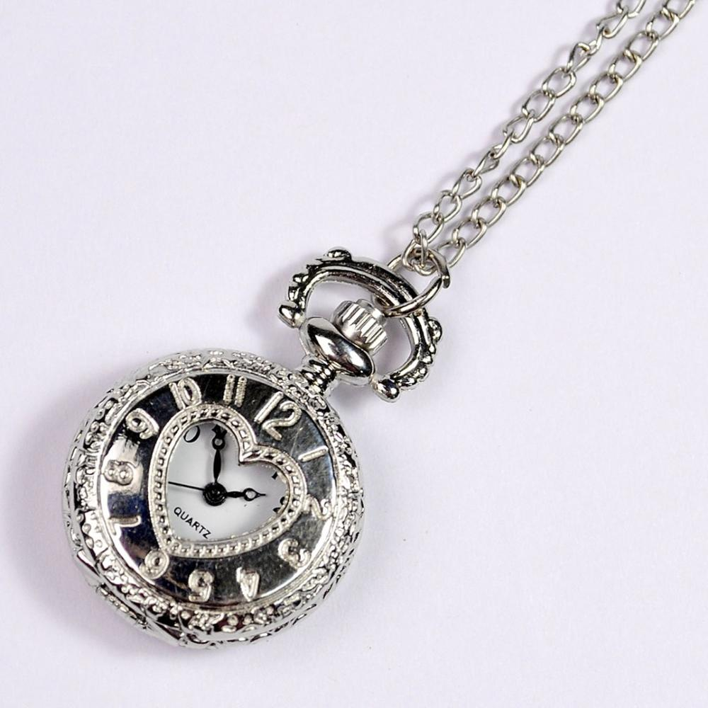 Small Size Vintage Palace Style Fashion Quartz Silver Shell White Surface Retro Pocket Watch With Necklace