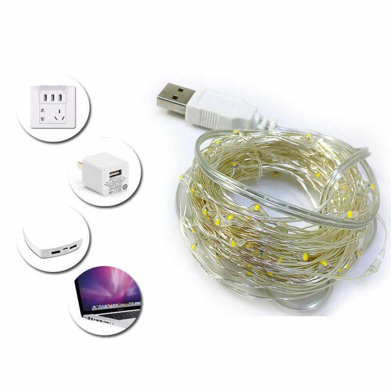 Feimefeiyou 5 м 50led 5 в с питанием от USB открытый теплый белый/RGB медный провод Рождественский фестиваль свадебные украшения