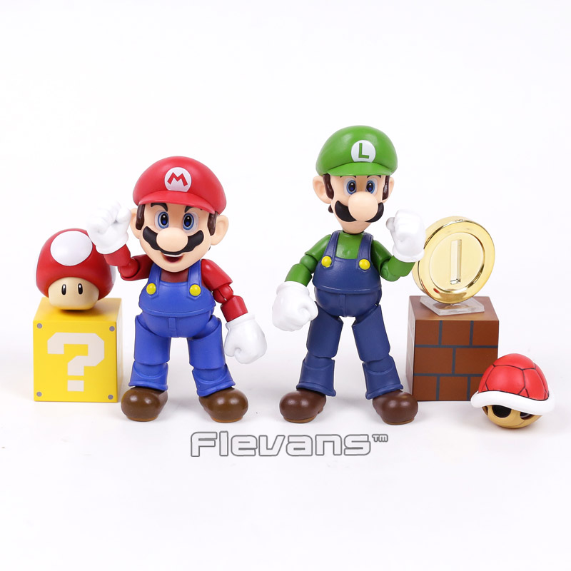 SHFiguarts Super Mario Bros Mario & Toad / Luigi & Koopa PVC Action Figure Collectible Model Toy цена