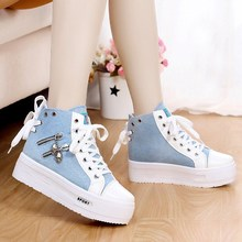 Women High Top Platform Lace up Canvas Casual Muffin Ankle Shoes White Blue S23 цена