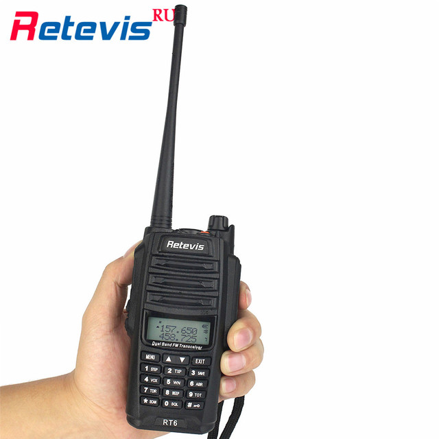 IP67 Professional Walkie Talkie Retevis RT6 Waterproof 5/3/1W Dual-Band VHF UHF Portable Radio Flashlight 2 Way Radio In Moscow