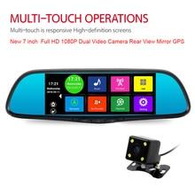 Nowy 7 Cal GPS Android Lustro Nawigacji GPS Bluetooth Phone Call WiFi DVR Full HD 1080 P Podwójna Kamera Wideo Lusterko wsteczne GPS